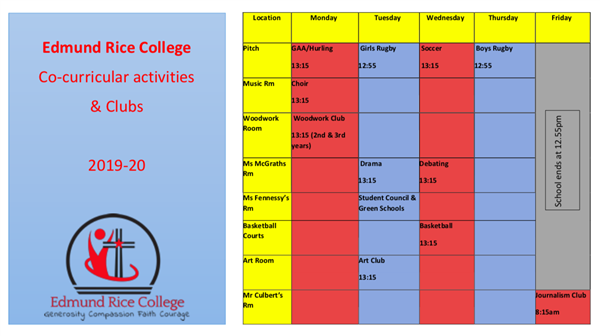 Co-curricular activities 2019-20